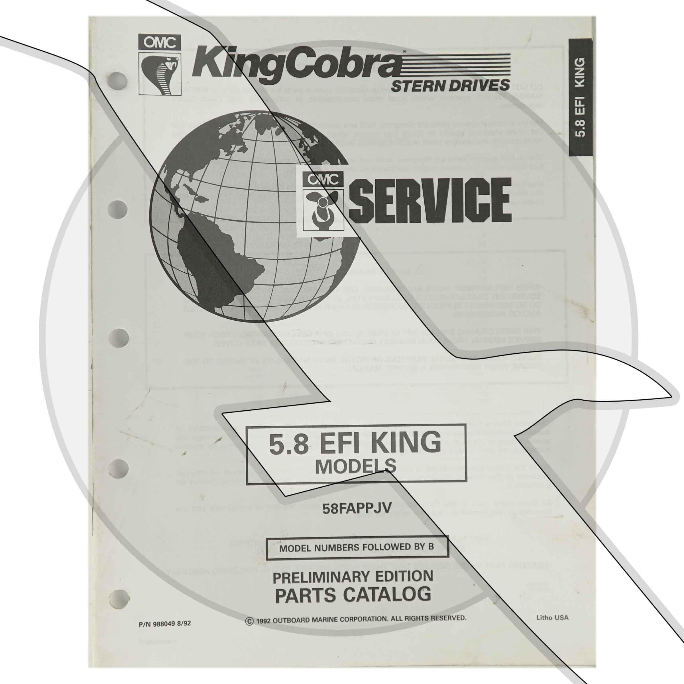Details about 1993 OMC King Cobra 5 8L 351 EFI Engine & Sterndrive Parts  Diagram Catalog