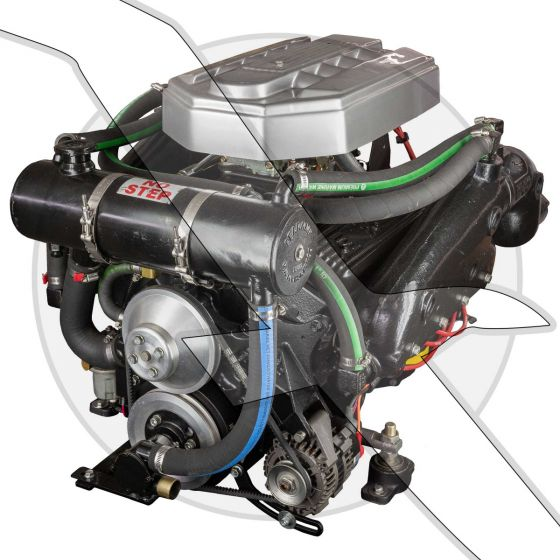 Barr Marine by EDM 5.7L Carbureted Fresh Water Cooling Complete Engine 300hp